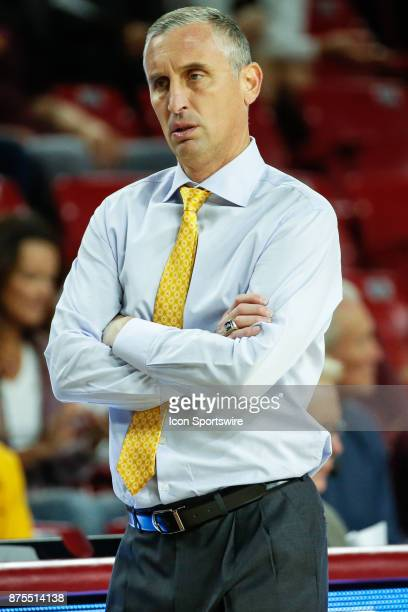 Arizona State Sun Devils head coach Bobby Hurley crosses his arms after disputing a call during the college basketball game between the Northern...