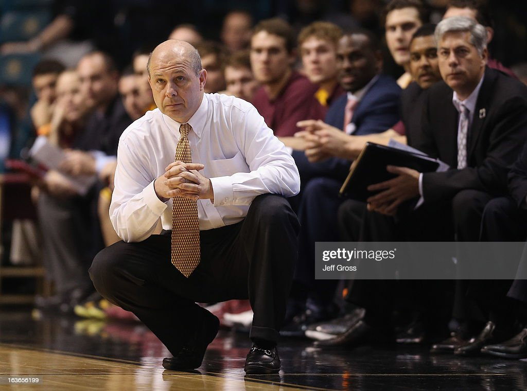 Arizona State Sun Devils head coach Herb Sendek looks on against the Stanford Cardinal during the first round of the Pac 12 Tournament at the MGM Grand Garden Arena on March 13, 2013 in Las Vegas, Nevada.