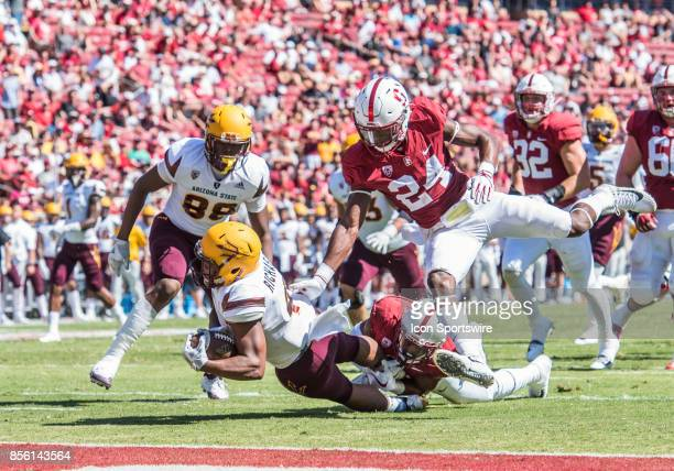 Arizona State Sun Devils running back Demario Richard gets pulled down near the goal line but in the following play scores a touchdown during the...