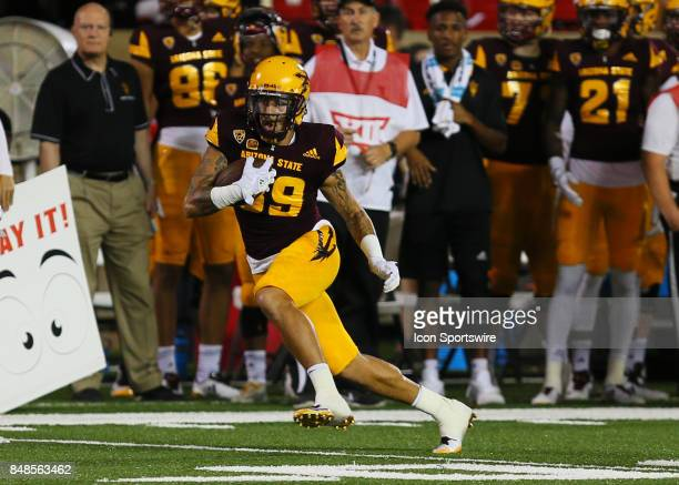 Arizona State wide receiver Jalen Harvey carries the ball downfield during the Texas Tech Raider's 5245 victory over the Arizona State Sun Devils on...