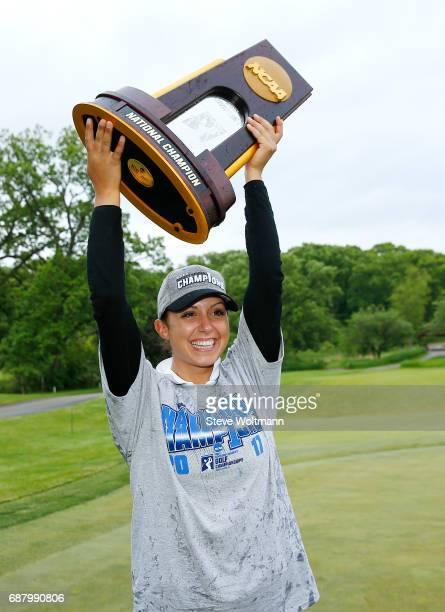 Arizona State's Monica Vaughn celebrates her team's National Champion victory at the Division I Women's Golf Match Play Championship held at Rich...