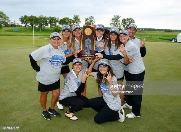 Arizona State's women's golf team celebrates their National Championship at the Division I Women's Golf Match Play Championship held at Rich Harvest...