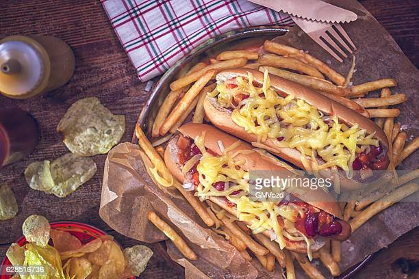 Arizona Style Hot Dog with Bacon, Chili Beans and Cheese