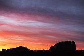 Sunset above a landscape silhouette in the high desert.  Yavapai County, Arizona, 2015.