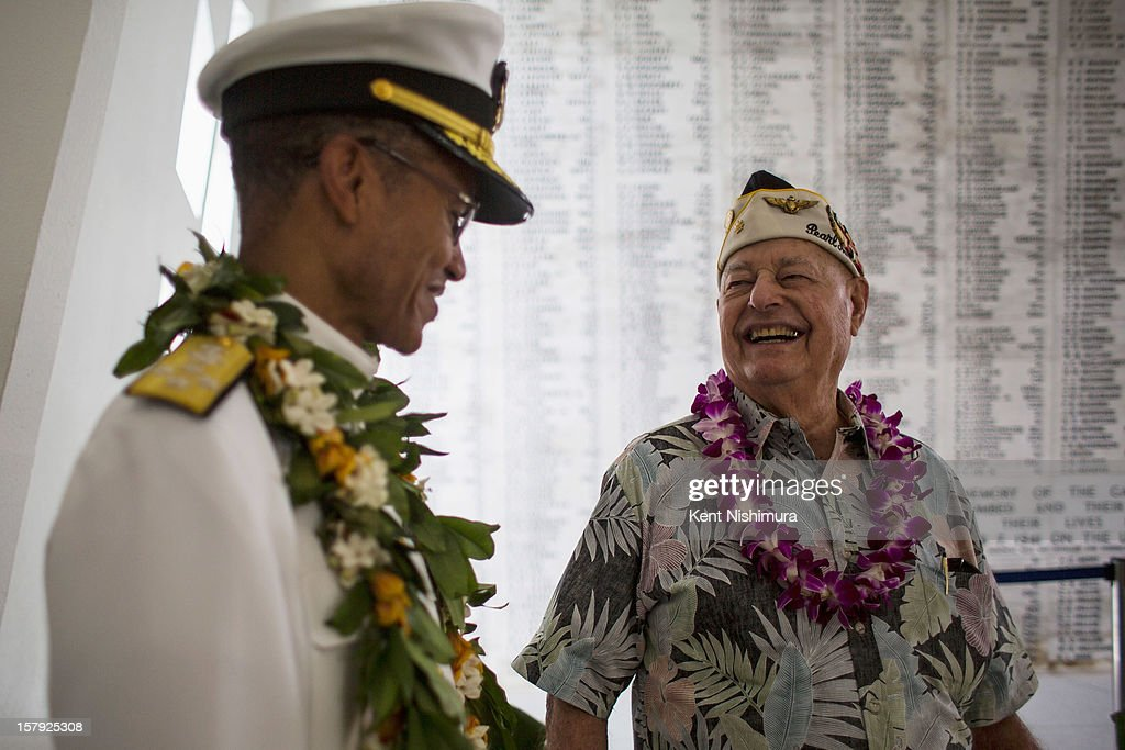 S. Arizona survivor Lou Conter laughs with Pacific Fleet Commander Admiral Cecil Haney in the shrine room of the U.S.S. Arizona Memorial during the 71st Annual Memorial Ceremony commemorating the WWII Attack On Pearl Harbor at the World War 2 Valor in the Pacific National Monument December 7, 2012 in Pearl Harbor, Hawaii. This is the 71st anniversary of the Japanese attack on Pearl Harbor.
