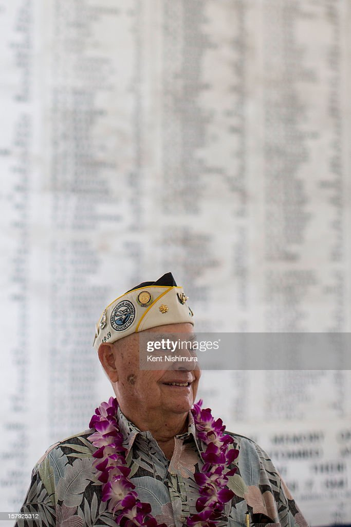 S. Arizona survivor Lou Conter stands in the shrine room of the U.S.S. Arizona memorial at the 71st Annual Memorial Ceremony commemorating the WWII Attack On Pearl Harbor at the World War 2 Valor in the Pacific National Monument December 7, 2012 in Pearl Harbor, Hawaii. This is the 71st anniversary of the Japanese attack on Pearl Harbor.
