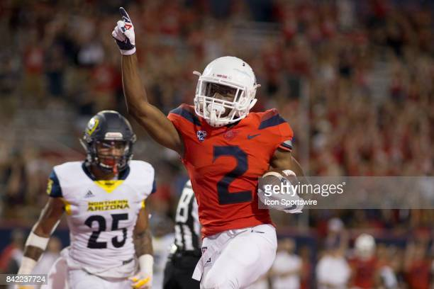 Arizona Tyrell Johnson celebrates after a touchdown that was called back due to a flag during a college football game between the Northern Arizona...