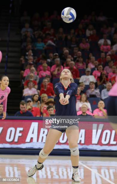Arizona Wildcats defensive specialist Makenna Martin hits the ball during the a college volleyball game between Utah Utes and Arizona Wildcats on...