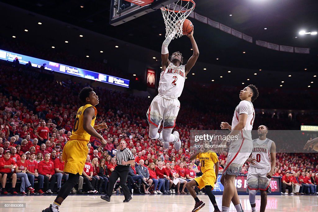 Arizona Wildcats guard Kobi Simmons (2) dunks during the second half of the NCAA college basketball game against the Arizona State Sun Devils at McKale Center on January 12, 2017 in Tucson, Arizona. The Arizona Wildcats beat the Arizona State Sun Devils 91-75.