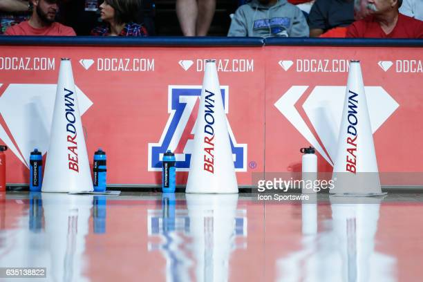 Arizona Wildcats megaphones during the college basketball game between the Cal Golden Bears and the Arizona Wildcats on February 11 2017 at Mckale...