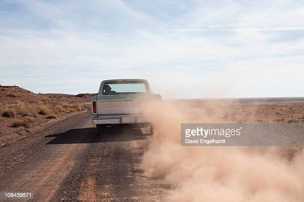 USA, Arizona, Winslow, Pick-up truck driving