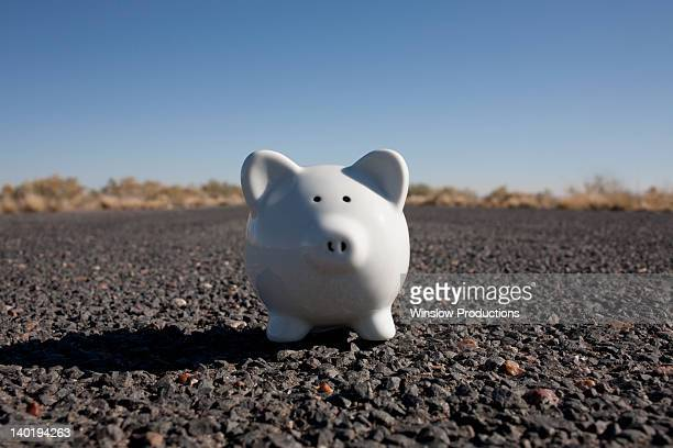 USA, Arizona, Winslow, Piggy bank on asphalt road