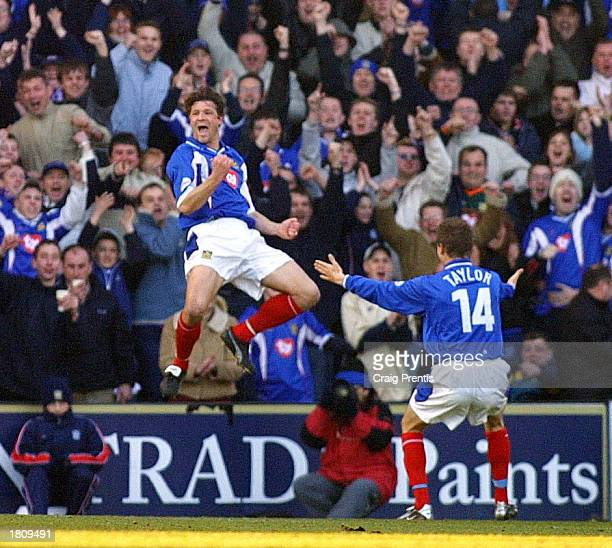 Arjan de Zeeuw of Portsmouth celebrates during the Nationwide League Division One match between Portsmouth and Gillingham at Fratton Park Portsmouth...