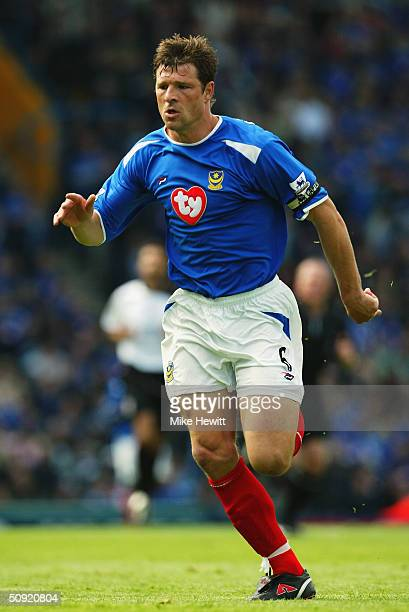 Arjan De Zeeuw of Portsmouth during the FA Barclaycard Premiership match between Portsmouth and Fulham at Fratton Park on May 1 2004 in Portsmouth...