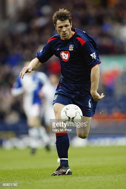 Arjan de Zeeuw of Portsmouth during the FA Barclaycard Premiership match between Blackburn Rovers and Portsmouth at Ewood Park on March 27 2004 in...