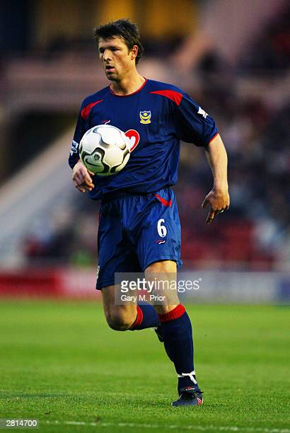 Arjan de Zeeuw of Portsmouth in action during the FA Barclaycard Premiership match between Middlesbrough and Portsmouth on December 6 2003 at the...