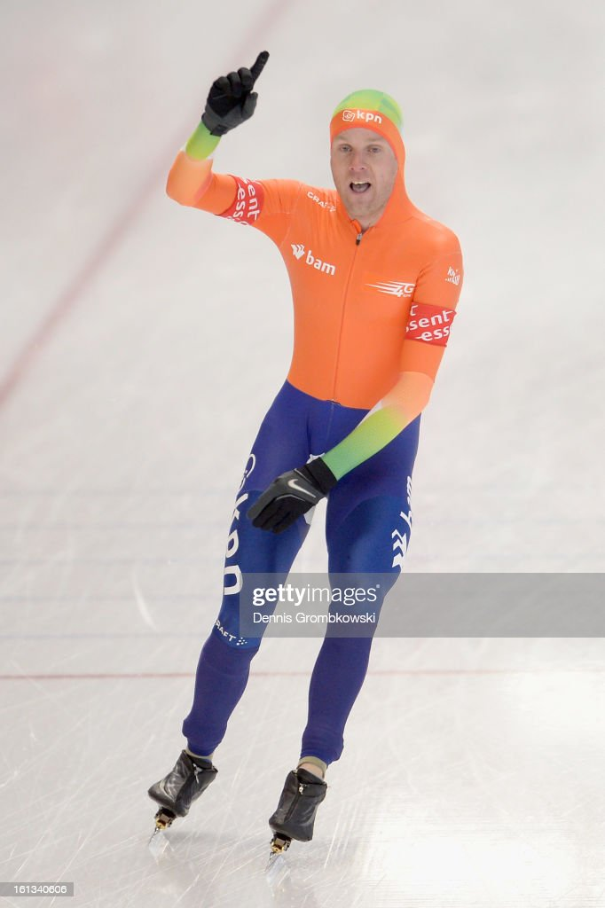 Arjan Stroetinga of Netherlands celebrates after the Men's Division A mass start race during day two of the ISU Speed Skating World Cup at Max Aicher Arena on February 10, 2013 in Inzell, Germany.