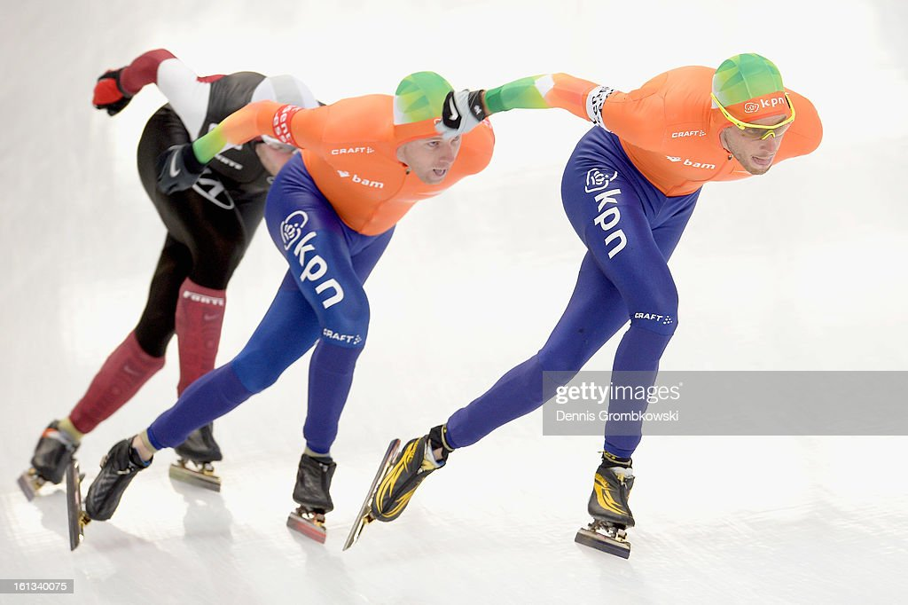 Arjan Stroetinga of Netherlands, Christijn Groeneveld of Netherlands and Haralds Silovs of Latvia compete the Men's Division A mass start race during day two of the ISU Speed Skating World Cup at Max Aicher Arena on February 10, 2013 in Inzell, Germany.