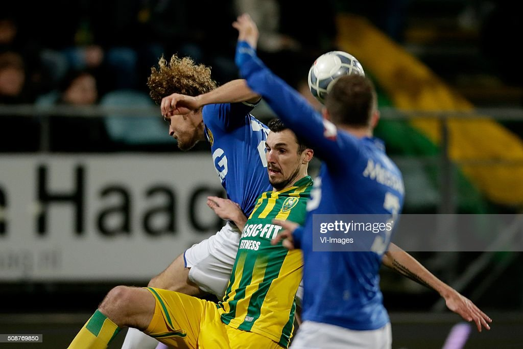 Arjan Swinkels of Roda JC, Mike Havenaar of ADO Den Haag during the Dutch Eredivisie match between ADO Den Haag and Roda JC Kerkrade at Kyocera stadium on February 06, 2016 in The Hague, The Netherlands