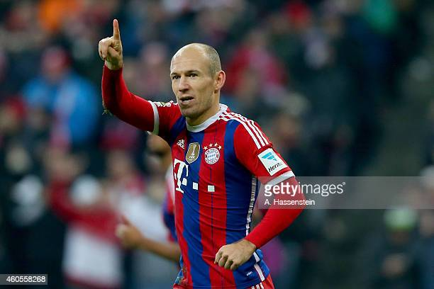 Arje Robben of Muenchen celebrates scoring the opening goal during the Bundesliga match between FC Bayern Muenchen and SC Freiburg at Allianz Arena...