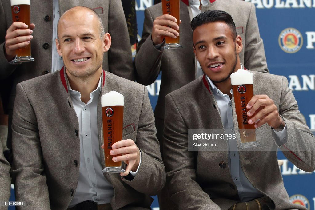 Arjen Robben and Corentin Tolisso attend the FC Bayern Muenchen Paulaner photo shoot in traditional Bavarian lederhosen on September 13, 2017 in Munich, Germany.