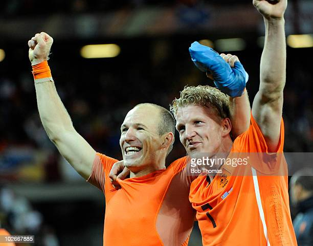 Arjen Robben and Dirk Kuyt of the Netherlands celebrate victory and progressing to the final after the 2010 FIFA World Cup South Africa Semi Final...