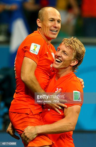 Arjen Robben and Dirk Kuyt of the Netherlands celebrates the victory after the 2014 FIFA World Cup Brazil Quarter Final match between Netherlands and...