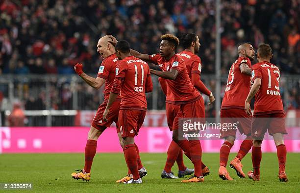 Arjen Robben Douglas Costa David Alaba Medhi Benatia Arturo Vidal and Rafinha of Bayern Munich celebrate a goal during the Bundesliga soccer match...
