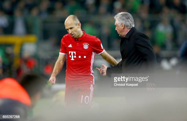 Arjen Robben of Bayern Muenchen after his substitution of head coach Carlo Ancelotti of Bayern Muenchen during the Bundesliga match between Borussia...