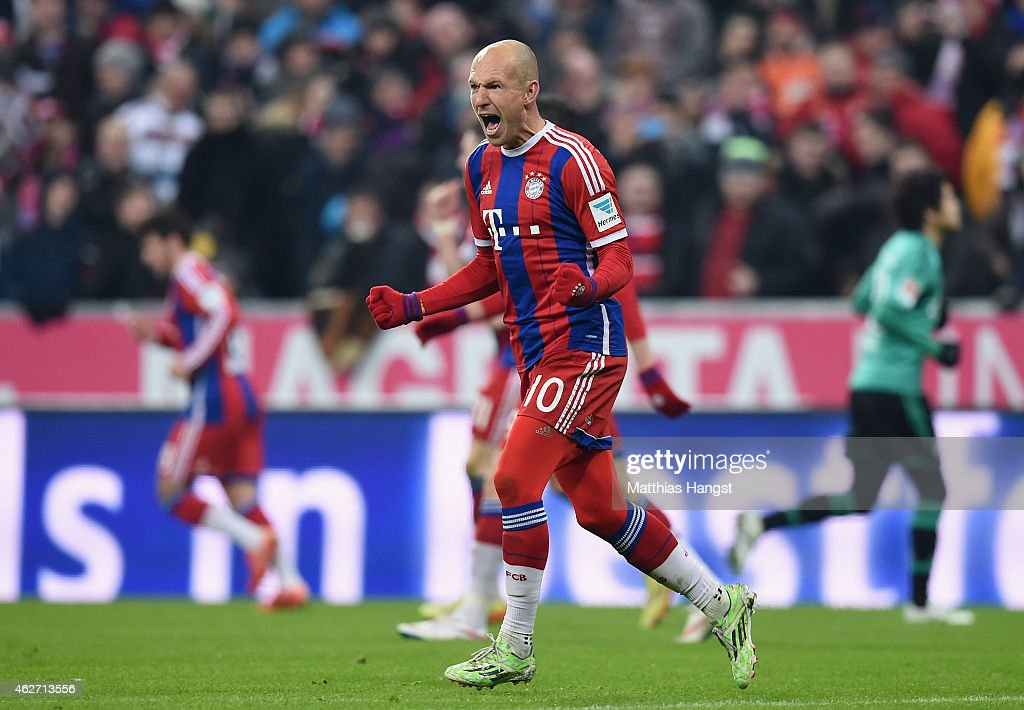 Arjen Robben of Bayern Muenchen celebrates after scoring his teams first goal during the Bundesliga match between FC Bayern Muenchen and FC Schalke...