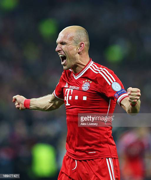 Arjen Robben of Bayern Muenchen celebrates after winning the UEFA Champions League Final against Borussia Dortmund at Wembley Stadium on May 25 2013...