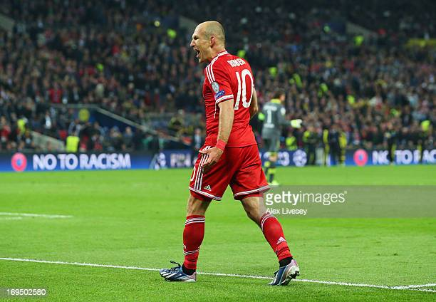 Arjen Robben of Bayern Muenchen celebrates as he scores their second goal during the UEFA Champions League final match between Borussia Dortmund and...