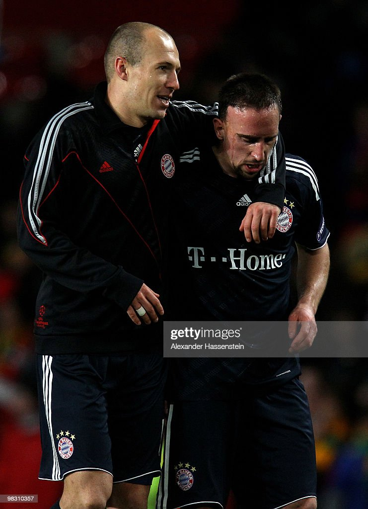 <a gi-track='captionPersonalityLinkClicked' href=/galleries/search?phrase=Arjen+Robben&family=editorial&specificpeople=194740 ng-click='$event.stopPropagation()'>Arjen Robben</a> of Bayern Muenchen celebrates scoring with team mate <a gi-track='captionPersonalityLinkClicked' href=/galleries/search?phrase=Franck+Ribery&family=editorial&specificpeople=490869 ng-click='$event.stopPropagation()'>Franck Ribery</a> (R) during the UEFA Champions League Quarter Final second leg match between Manchester United and Bayern Muenchen at Old Trafford on April 7, 2010 in Manchester, England.