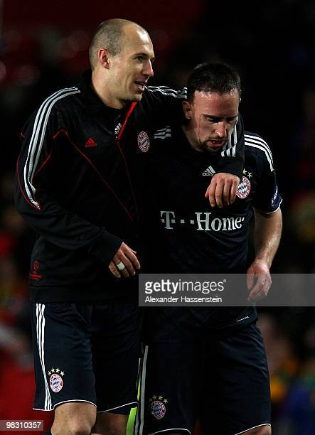 Arjen Robben of Bayern Muenchen celebrates scoring with team mate Franck Ribery during the UEFA Champions League Quarter Final second leg match...