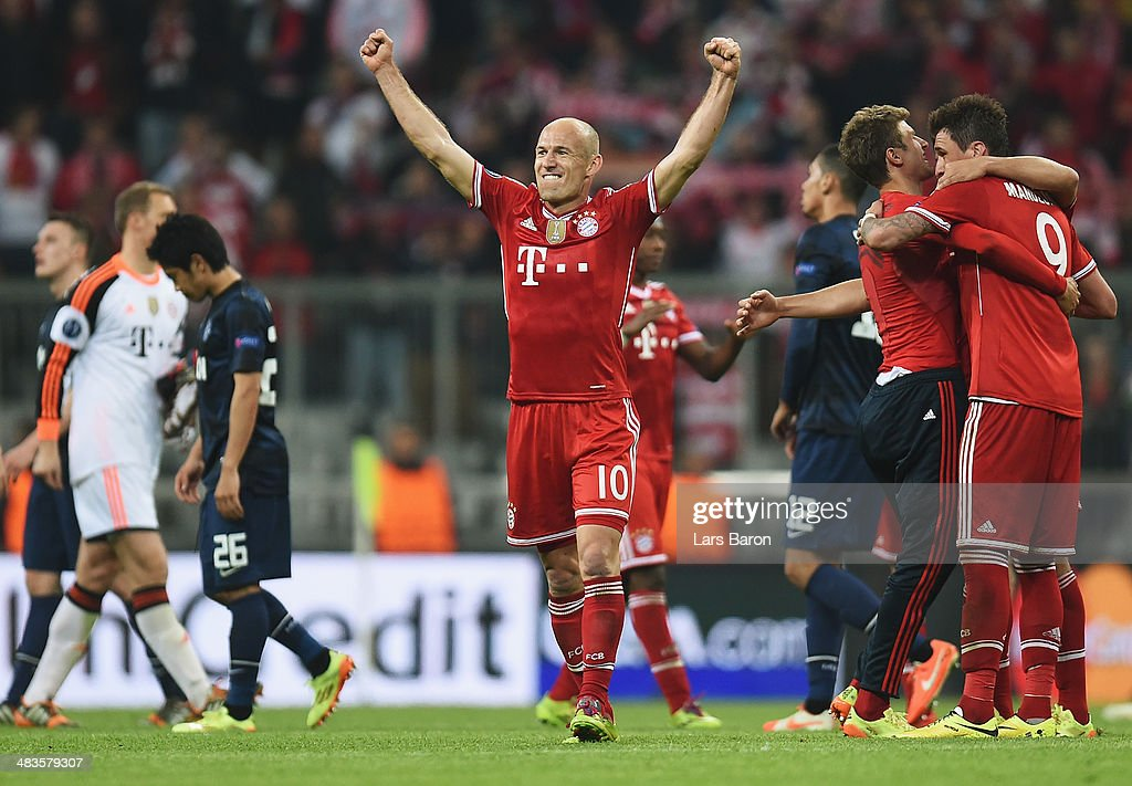 Arjen Robben of Bayern Muenchen celebrates victory after the UEFA Champions League Quarter Final second leg match between FC Bayern Muenchen and Manchester United at Allianz Arena on April 9, 2014 in Munich, Germany.