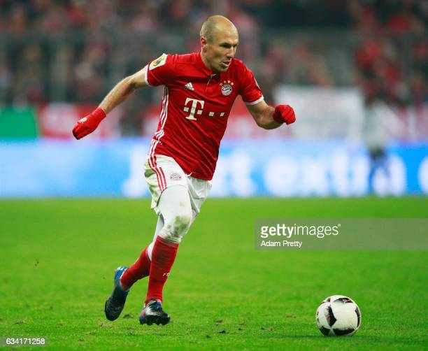 Arjen Robben of Bayern Muenchen in action during the DFB Cup Round Of 16 match between Bayern Muenchen and VfL Wolfsburg at Allianz Arena on February...