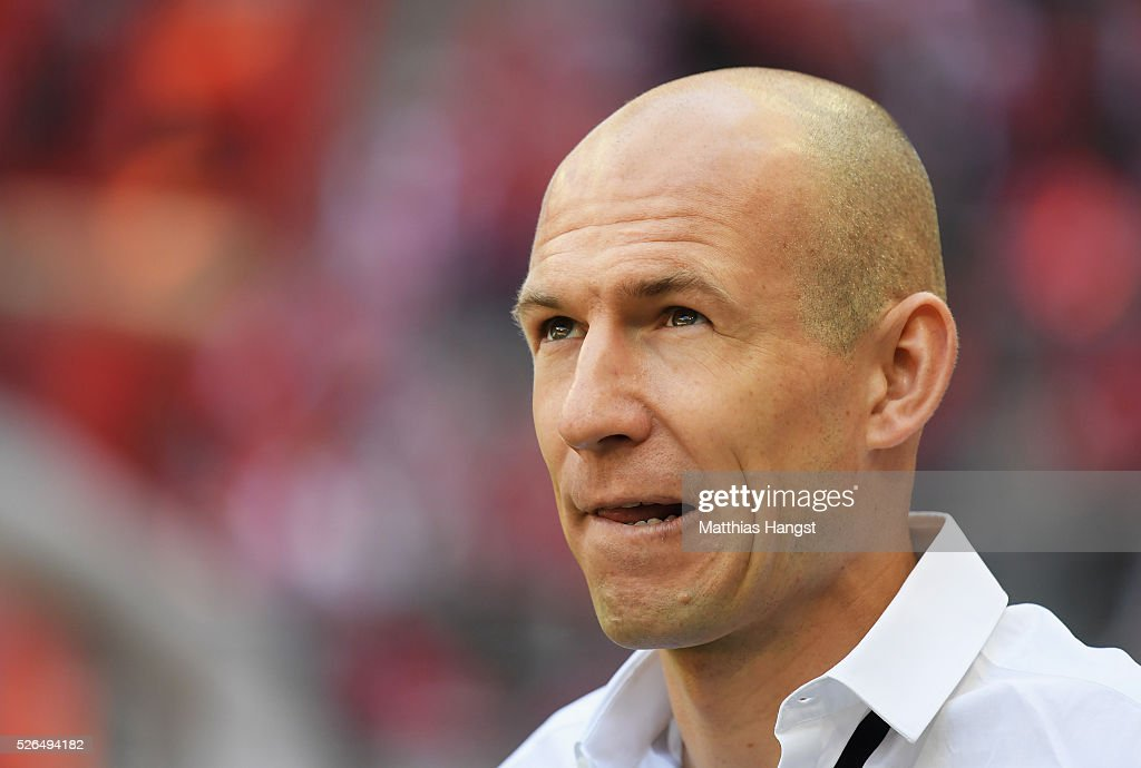 Arjen Robben of Bayern Muenchen is seen prior to the Bundesliga match between Bayern Muenchen and Borussia Moenchengladbach at Allianz Arena on April 30, 2016 in Munich, Germany.