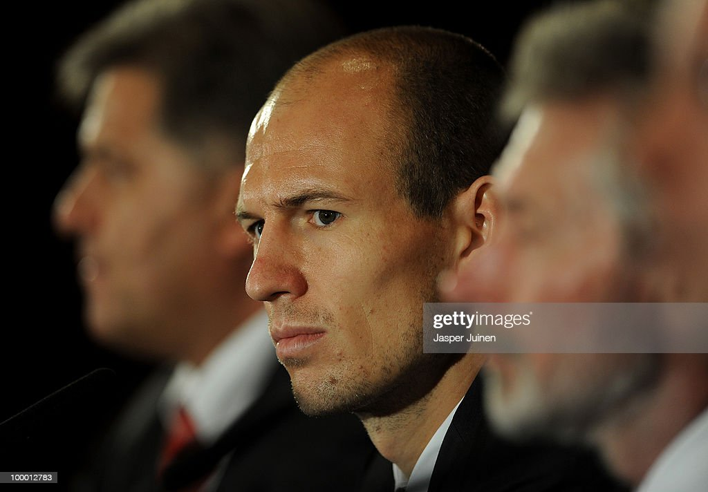 Arjen Robben of Bayern Muenchen listens to questions from the media during a press conference, ahead of their UEFA Champions League final match against Inter Milan, on May 20, 2010 in Madrid, Spain.