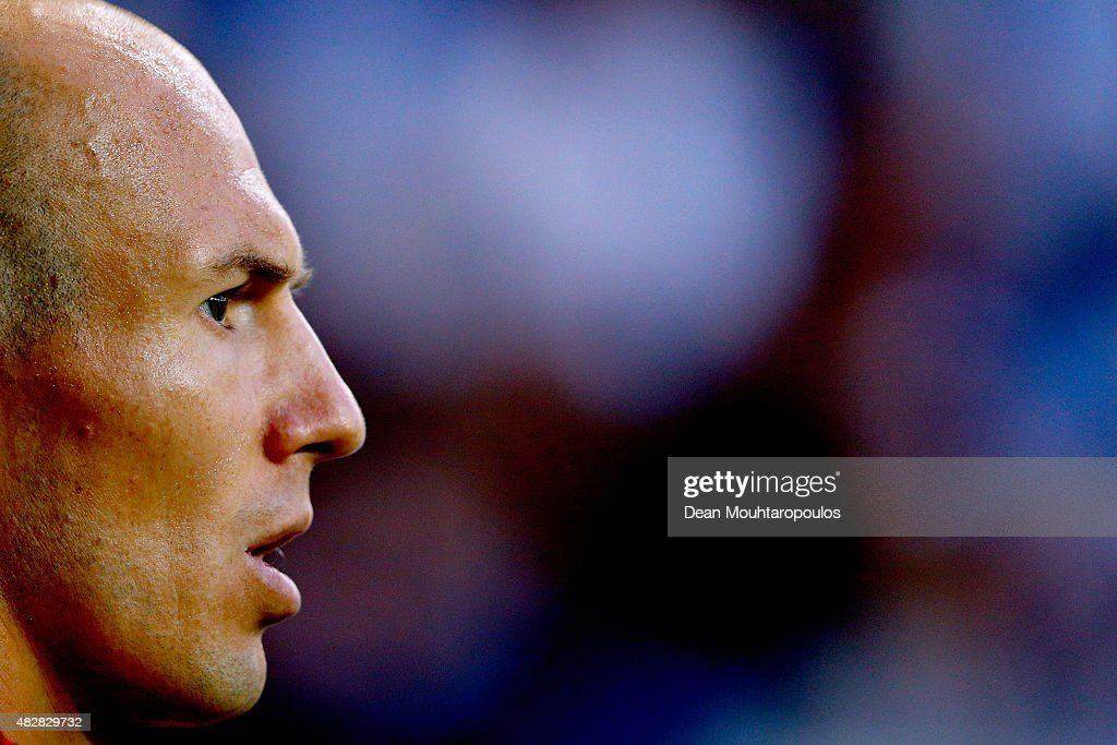 Arjen Robben of Bayern Muenchen looks on during the DFL Supercup match between VfL Wolfsburg and FC Bayern Muenchen at Volkswagen Arena on August 1, 2015 in Wolfsburg, Germany.