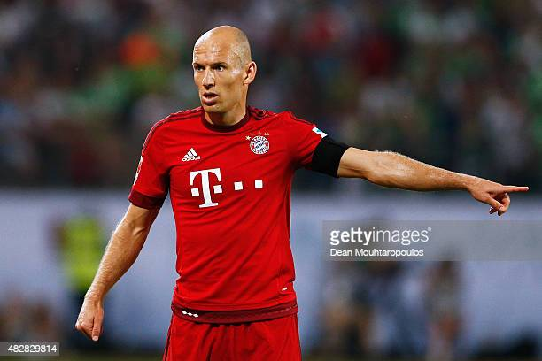 Arjen Robben of Bayern Muenchen looks on during the DFL Supercup match between VfL Wolfsburg and FC Bayern Muenchen at Volkswagen Arena on August 1...