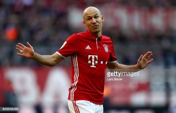 Arjen Robben of Bayern Muenchen reacts during the Bundesliga match between Bayern Muenchen and Hamburger SV at Allianz Arena on February 25 2017 in...