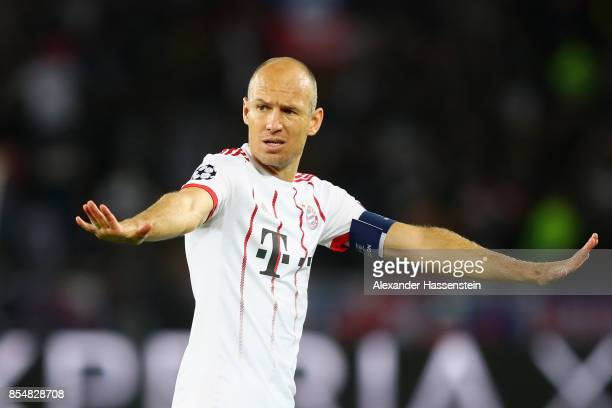 Arjen Robben of Bayern Muenchen reacts during the UEFA Champions League group B match between Paris SaintGermain and Bayern Muenchen at Parc des...