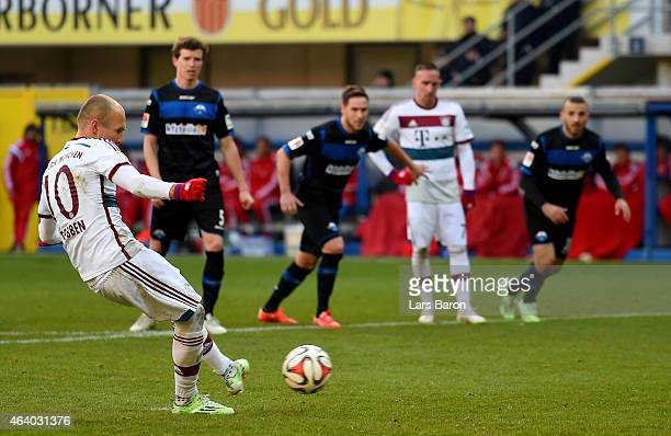 Arjen Robben of Bayern Muenchen scores his teams third goal during the Bundesliga match between SC Paderborn and FC Bayern Muenchen at Benteler Arena...