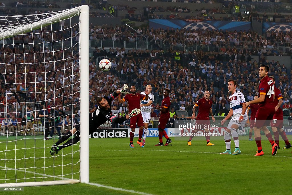 Arjen Robben of Bayern Muenchen scores the opening goal during the UEFA Champions League group E match between AS Roma and FC Bayern Muenchen at...