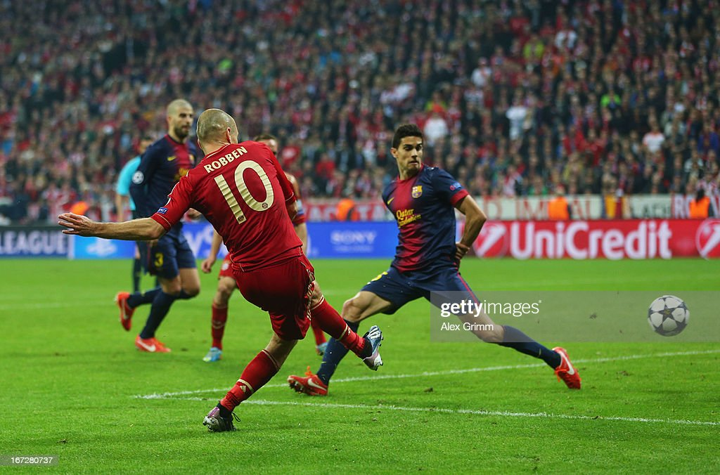 <a gi-track='captionPersonalityLinkClicked' href=/galleries/search?phrase=Arjen+Robben&family=editorial&specificpeople=194740 ng-click='$event.stopPropagation()'>Arjen Robben</a> of Bayern Muenchen scores the third goal during the UEFA Champions League Semi Final First Leg match between FC Bayern Muenchen and Barcelona at Allianz Arena on April 23, 2013 in Munich, Germany.