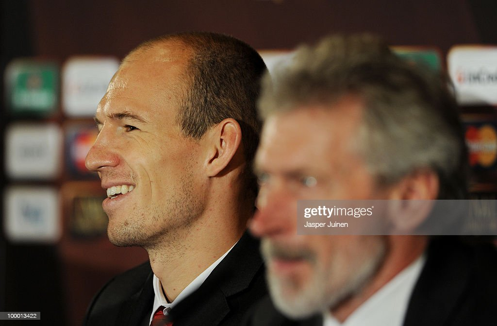 Arjen Robben of Bayern Muenchen smiles as he answers questions from the media during a press conference, ahead of their UEFA Champions League final match against Inter Milan, on May 20, 2010 in Madrid, Spain.