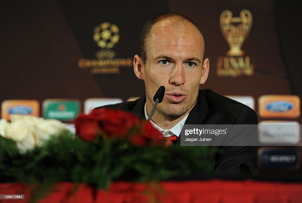 Arjen Robben of Bayern Muenchen speaks to the media during a press conference, ahead of their UEFA Champions League final match against Inter Milan, on May 20, 2010 in Madrid, Spain.