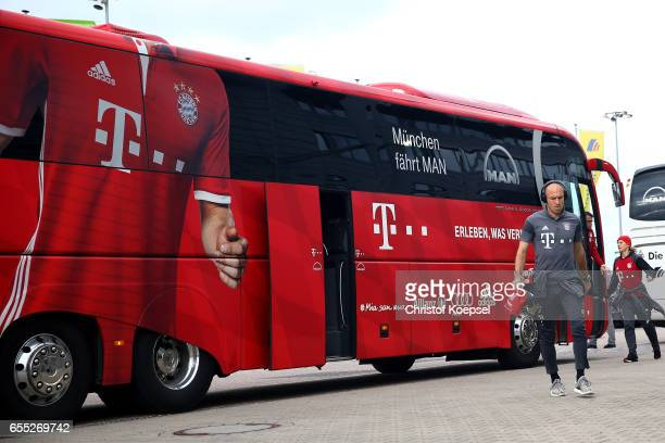 Arjen Robben of Bayern Muenchen walks out of the bus prior to the Bundesliga match between Borussia Moenchengladbach and Bayern Muenchen at...