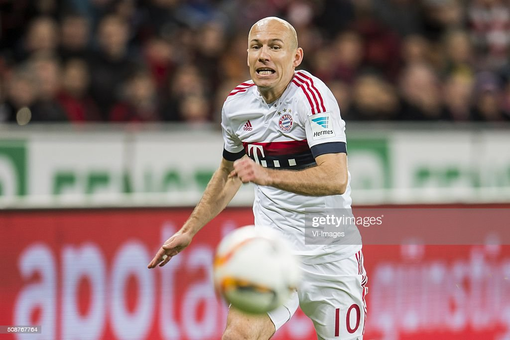 Arjen Robben of Bayern Munich during the Bundesliga match between Bayer 04 Leverkusen and FC Bayern Munich on February 6, 2016 at the BayArena in Leverkusen, Germany.