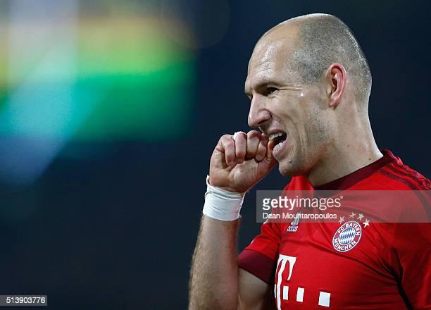 Arjen Robben of Bayern Munich reacts during the Bundesliga match between Borussia Dortmund and FC Bayern Muenchen at Signal Iduna Park on March 5...